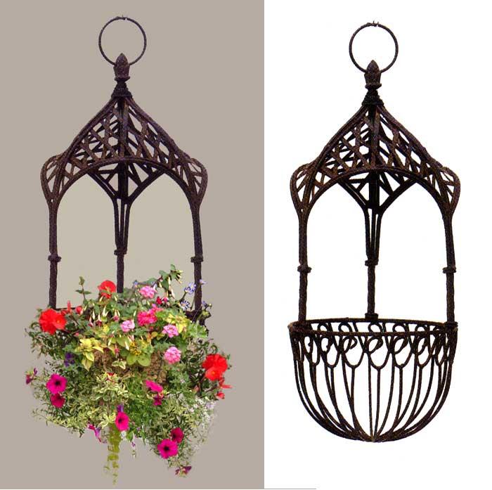 Victorian Hanging Flower Baskets : Victorian hanging candlelantern mint green wrought iron