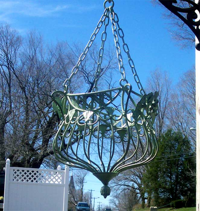Victorian Hanging Flower Baskets : Set of victorian hanging planters iron mint green