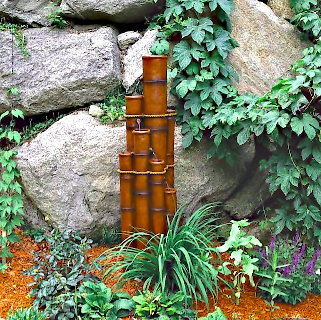 Bamboo Water Fountain Electric wPump 55 Tall Resin