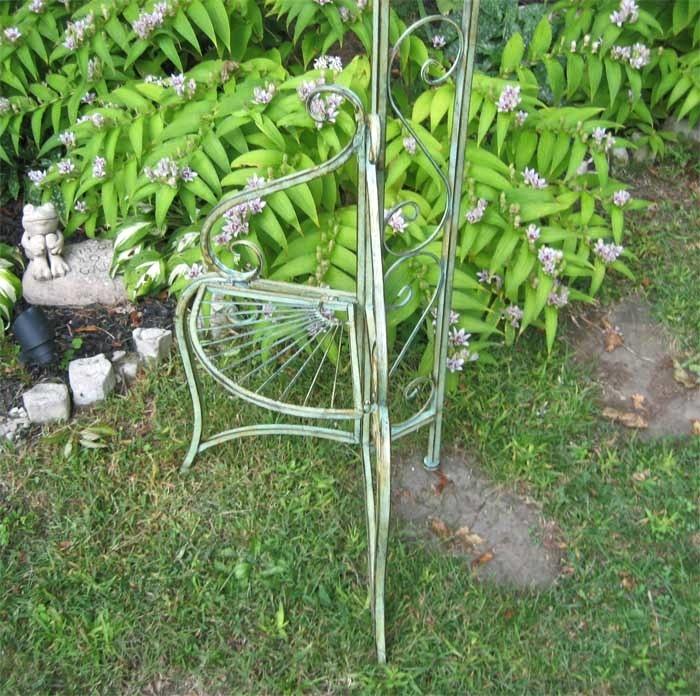 Ornamental Metal Round Top Garden Planter Arch: Garden Arch Trellis W/Side Plant Stands
