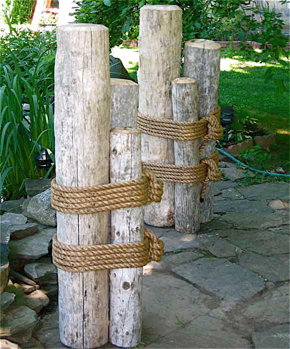 Set Two 48 Quot High Wood Marine Pilings Nautical Coastal