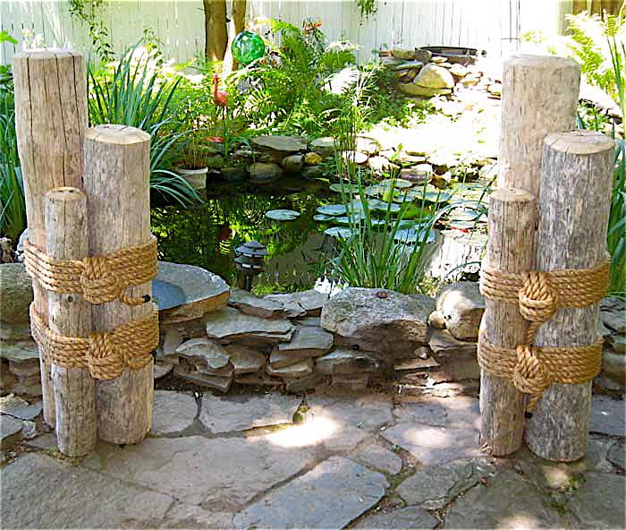 Set two 48 high wood marine pilings nautical coastal for Beach themed backyard decor