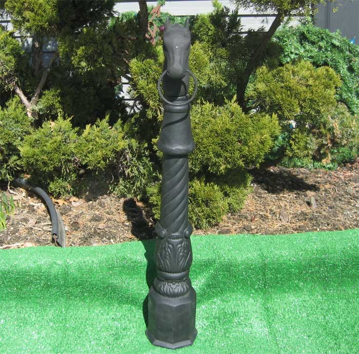 Horse head hitching post w ring quot high cast iron black