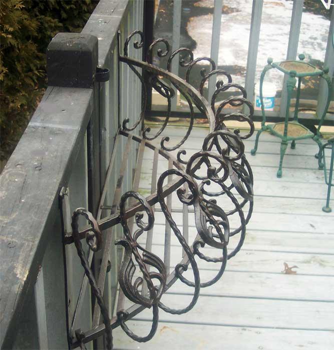"35"" Iron Curved Window Box Wall Planter Antique Black"