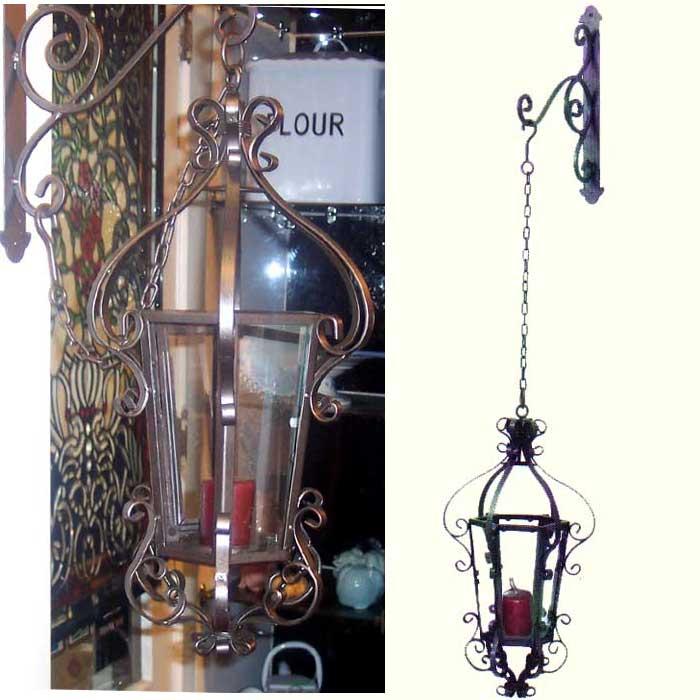 Iron Hanging Candle Lantern with Wall Bracket eBay