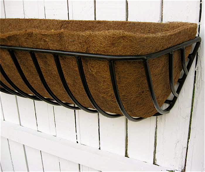 "Iron Window Box/Deck Planter 44"" W/Coco Fiber Liner"