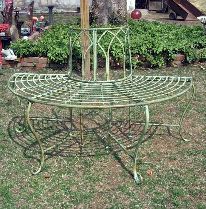 Round Tree Bench/Plant Stand - Wrought Iron - Antique Mint Green ...