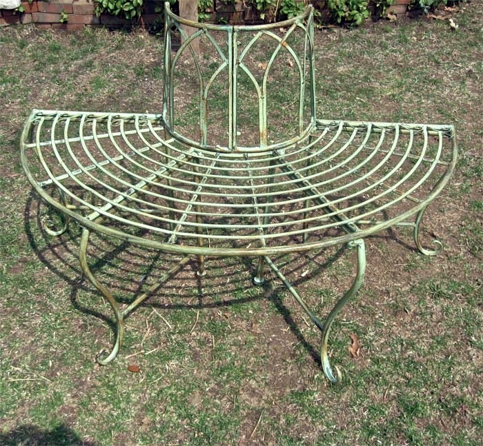 1 2 Round Tree Bench Plant Stand Wrought Iron Antique Mint Green Finish Ebay