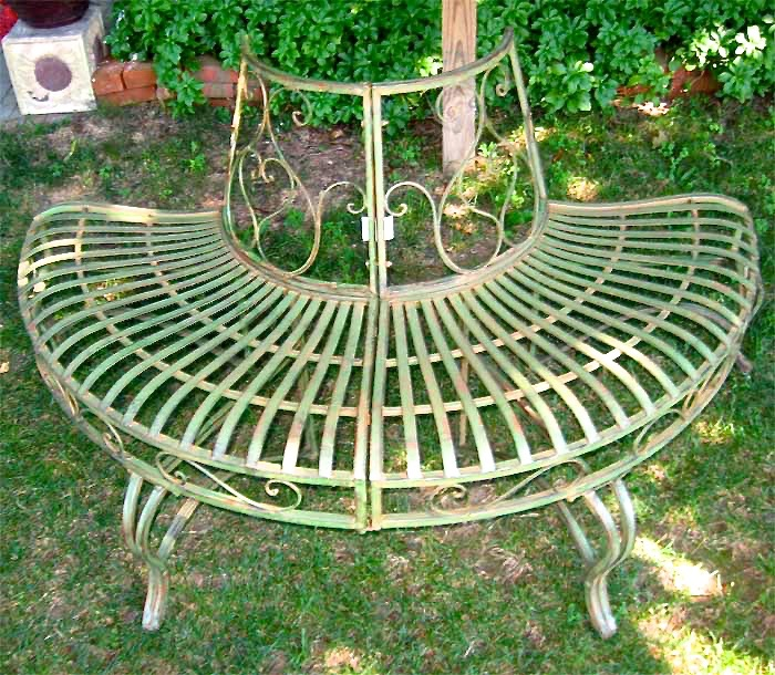 1 2 round tree bench plant stand 30 5 high wrought iron antique green finish ebay Circular tree bench
