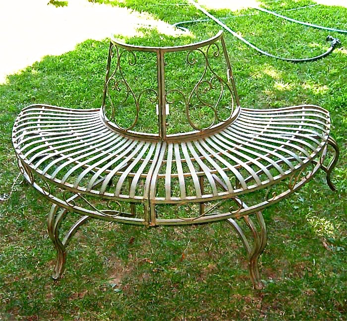 1 2 Round Tree Bench Plant Stand 30 5 High Wrought Iron