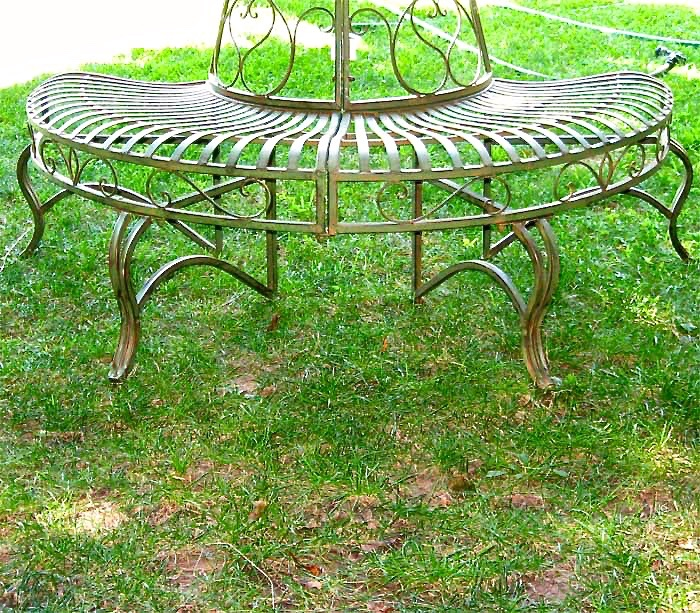 1 2 round tree bench plant stand 30 5 high wrought iron Circular tree bench