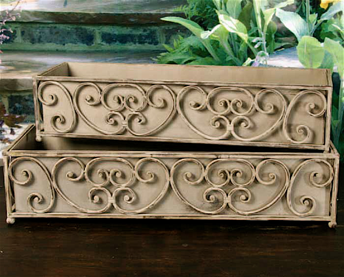 Set of 2 iron dover scroll window box deck planters ebay for Window scroll