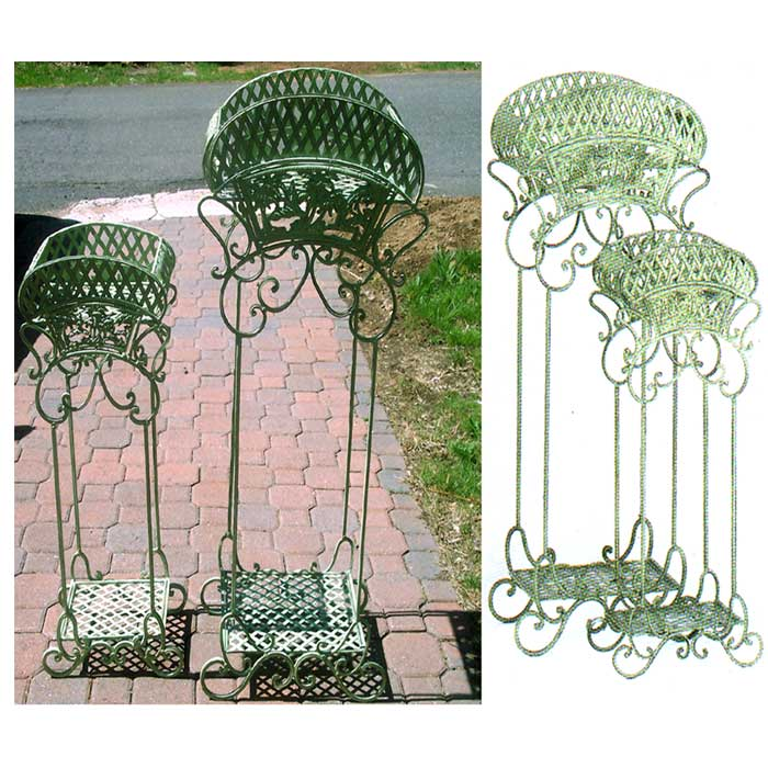 set of 2 victorian plant stands iron lattice scroll