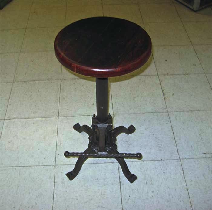 Stool Swivel Restoration Style Wood Seat Adjustable
