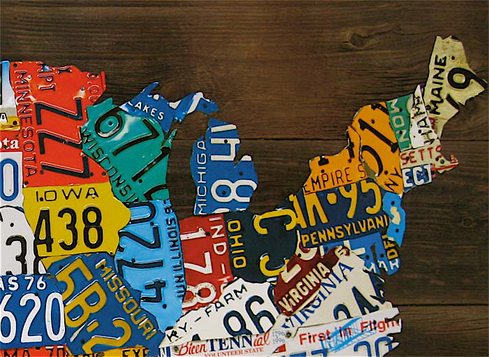 USA Map License Plate Style Tabletop Sign Automotive Travel Decor - Us map license plates