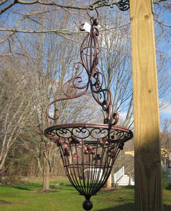 Victorian Hanging Flower Baskets : Victorian design hanging basket iron antique rust finish