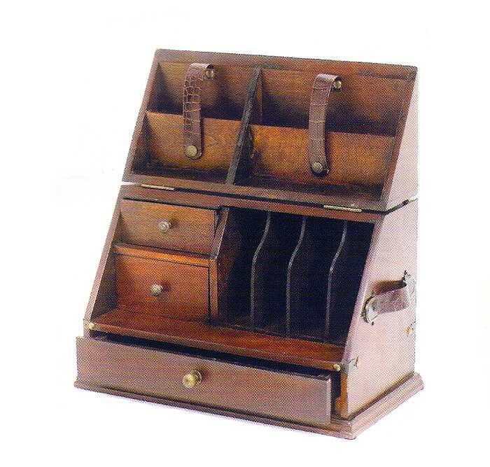 wood desktop organizer letter box leather handles